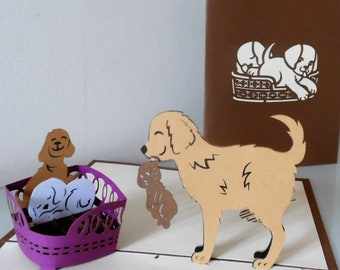 Dog with Puppies 3d - Pop up Card -Birthday-New home (sku121)
