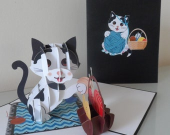 Cat Playing with Wool Basket 3d - Pop up Card -Blank-Birthday-New Pet (sku173)