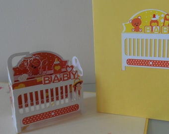 New Baby Congratulations 3d - Pop up Card - New Baby - Baby Shower (sku122)