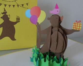 Bear with Balloons and Present 3D - Pop up Card - Blank- birthday-get well - (sku170)