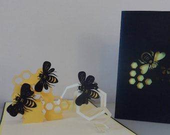 Busy bees 3d Pop up Card - Mothers Day -blank - birthday -retirement (sku 107)