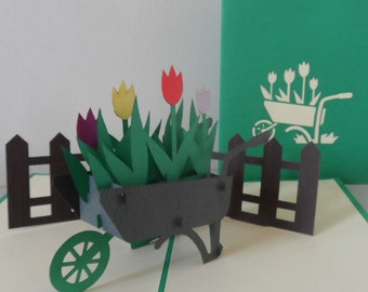 Gardening Time 3D - Pop up Card -Blank- Mothers Day -Birthday - Retirement (sku127)