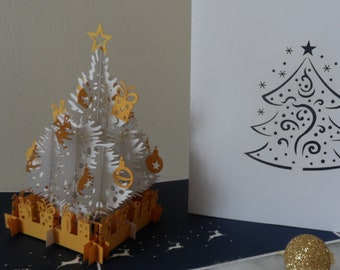 Christmas Tree - White + Gold - Pop up Card- 3D (sku409)
