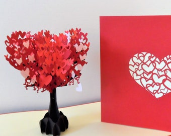 Red and Pink Heart Tree 3d - Pop up Card - Blank - love- engagement- anniversary - wedding - valentine (sku154)