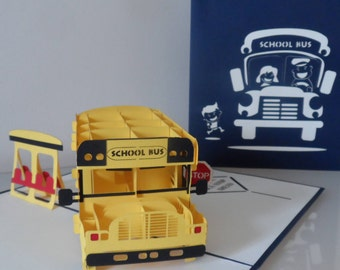 Yellow School Bus 3d Pop up Card- blank - birthday- New school- Bon voyage (sku169)