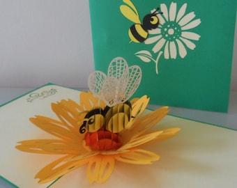 Honeybee  in the garden -3d - Pop up Card - blank- birthday -get well (sku 041a)