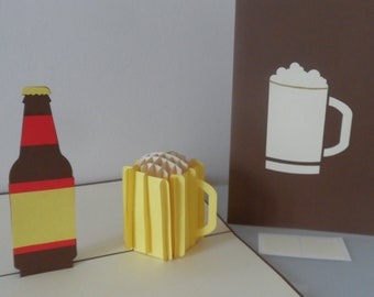 Personalised Beer Bottle and Glass 3D Pop up Card- Blank - Birthday- Well Done- Congratulations -Cheers (sku014)