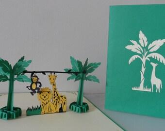 Jungle Zoo Pop up Card Birthday- Bon Voyage- Blank (sku138)