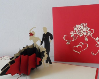 Flamenco Ballroom Dancers 3d Pop up Card Birthday -Mothers Day - Anniversary- Love-Retirement-  Blank (sku 009)