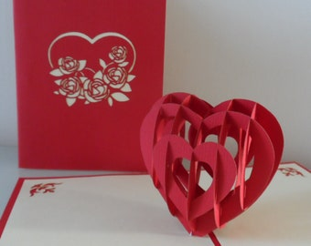Red Love Heart 3d - Pop up Card -Valentine -Love -Anniversary (sku016)