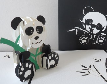 Panda - 3D - Pop up Card - Birthday- Bon voyage (sku171)