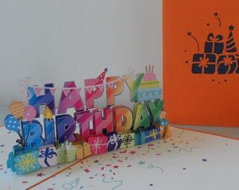 Happy Birthday 3d - Pop up Card - Happy Birthday (sku017)