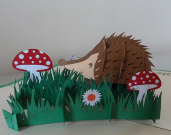 Hedgehog 3d - Pop up Card -Blank - Birthday -(sku 110)