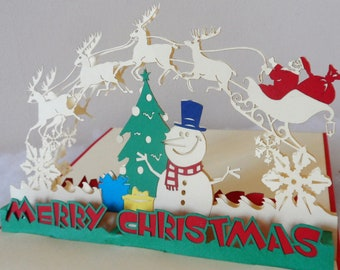 Snowman - Santa - Christmas - Pop up Card - 3D (sku403)