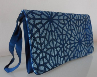 Silk Two Tone Blue Embroidered Clutch Bag -textile/evening/purse/wrist strap/silk/embroidered/present