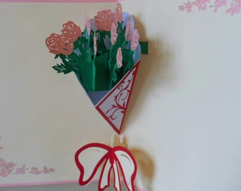 Pink Roses Flower Bouquet 3D - Pop up Card -Mothers Day - Anniversary- Birthday-Get Well (sku143)