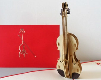 Cello Violin String Instrument 3d Pop up Card- blank- birthday-congratulations (sku183)