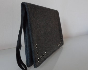 Grey Felt with Eyelet Design Clutch Bag -textile/evening/purse/wrist strap/present