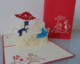 Alice in Wonderland Tea Party Pop up Card Birthday Get Well Blank Hen Party (sku146)