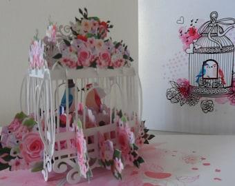 Wedding Love Birds 3d - Pop up Card -Wedding- Congratulations (sku149)