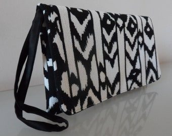Black and Cream Geometric Aztec Design Clutch Bag -textile/evening/purse/wrist strap/present