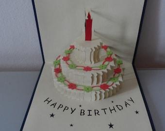Happy Birthday Tiered Cake 3D - Pop up Card -Birthday (sku131)