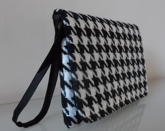 Black and Cream Dog Tooth Check Clutch Bag -textile/purse/wrist strap/present