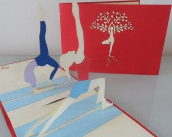 Yoga Pilates Fitness 3D - Pop up Card - Blank- Get well- Good Luck (sku114)