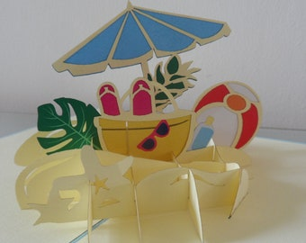 Summer Holiday Time Beach 3d - Pop up Card -Blank- Honeymoon-Bon Voyage