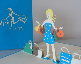 Girl About Town Shopping 3d - Pop up Card - blank - Birthday - Congratulations - Hen Party (sku043)