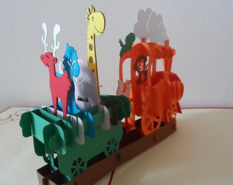 Train - Animals- 3d - Pop up Card - Children- (sku018)