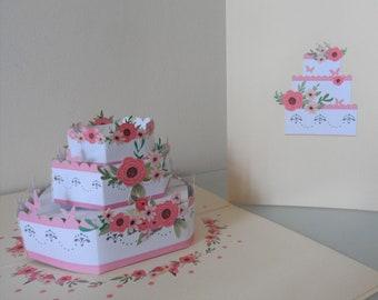 Wedding Celebration Cake 3d - Pop up Card - Blank- Wedding - Anniversary- Celebration (SKU163)