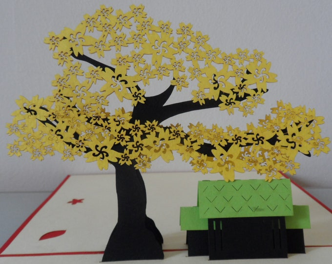 Featured listing image: Yellow Blossom Tree -3d - Pop up Card  - Birthday - Get well - Retirement-Anniversary (sku069)