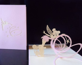 Tinker Bell - Fairy - 3D - Pop up Card - Mothers Day -Birthday -New Baby- Christening (sku155)