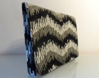 Black,Cream & Grey Wave Design Clutch Bag -textile/evening/present