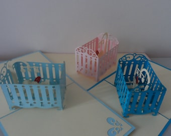 New Baby Boy Girl in Cot Cradle 3d Pop up Card - Birth-Baby shower-Christening (sku045)