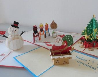 Family Children Mixed Christmas Bundle - 4 Different Designs -3D Pop up Cards