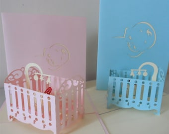 New Baby Boy Girl in Cot Cradle 3d Pop up Card - Birth-Baby shower-Christening (sku045)