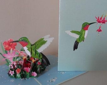 Hummingbird and Flowers 3d - Pop up Card - Blank- Birthday- Get Well- Retirement (sku131)