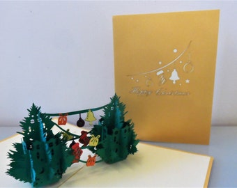 Christmas Trees - Garlands - Pop up Card - 3D (sku416)
