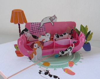 Cats and Dog Lounging around- 3d - Pop up Card -Blank- Birthday -Congratulations
