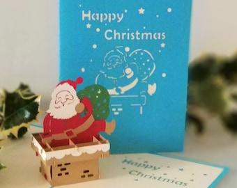 Santa Going down the Chimney 3d - Pop up Card (sku426)