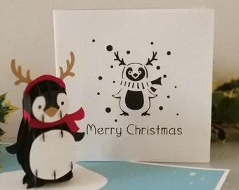 Merry Christmas Penguin 3d - Pop up Card - (sku407)