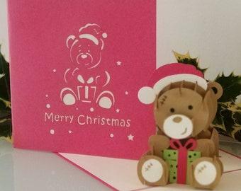 Merry Christmas Teddy Bear 3d - Pop up Card - Christmas  (sku420)