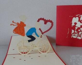 Boy - Girl - Riding - Bicycle - 3D - Pop up Card -Valentine- Love - Heart - Engagement - Wedding - (sku026)