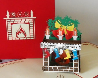 Christmas - Fireplace + Stockings - Pop up Card - 3D (sku405)