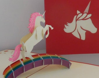 Unicorn - Magical - 3D - Pop up Card - Blank - Birthday (sku049)