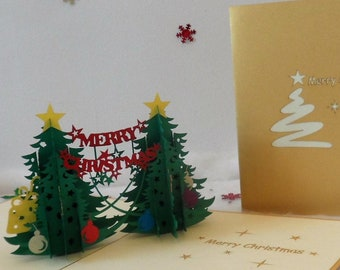 Christmas Trees - Merry Christmas - Pop up Card - 3D  (sku404)