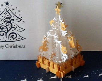 White & Gold Christmas Tree + Presents - 3D  Pop up Card - (sku413)