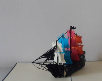 Blue Galleon Ship 3d Pop up Card - blank- Birthday-retirement (sku077)
